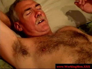 Straight mature bears enjoy anal play