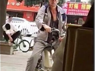 A chinese man's hard on in front of coffee shop - Bluedboy.blogspot.com