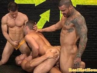 Butch masculine studs in orgy
