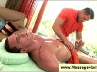 Gay masseur seduced by clients erection