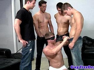 Bukkake loving blindfolded jock gets cumshots