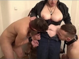 Bossy grandma and her two young home slaves
