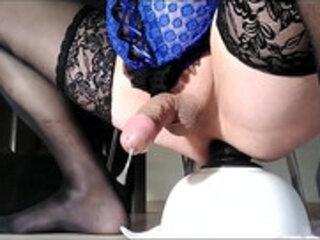 Sissy Oksana love to cum with a big dildo in my ass