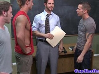 Teacher gets bukkake from student jocks