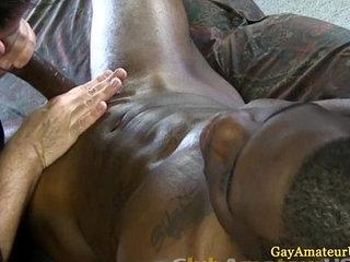 Ebony straight guys cock gets pleased
